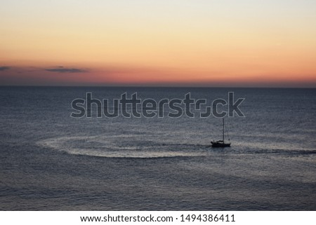 Skyline with a colorful sea sunset from Suances, Cantabria, Spain.