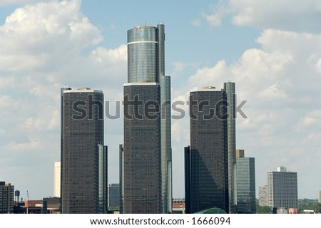 Skyline with three highrises