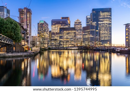 Skylines building at Canary Wharf in London UK sunset twilight #1395744995