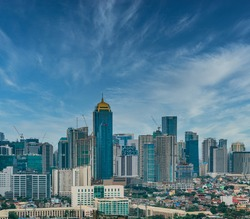 Skylines with clouds. Buildings in the Philippines at the Bonifacio Global City (BGC).