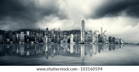 Skyscapers on Victoria Harbour, Hong Kong