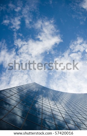 skyscraper against sky building glass background - stock photo