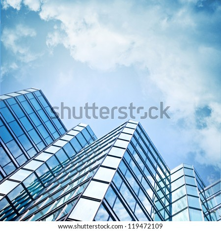 skyscraper against sky  ; building glass background ; square illustration