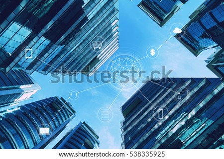Skyscraper and network connection concept