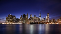 Skyscraper at night, high-rise building in Lower Manhattan, New York City