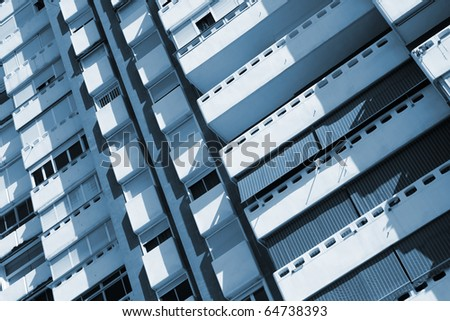 Skyscraper balconies and windows - abstract photo of a modern apartment building