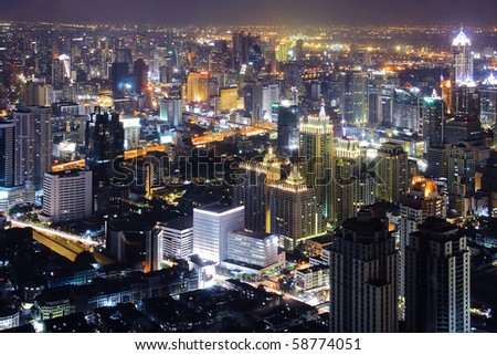 Skyscraper Bangkok downtown top View at Night from top of Thailand