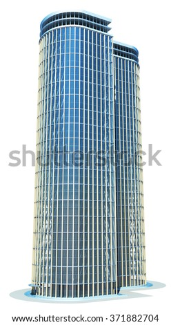 Skyscraper building. Isolated on white