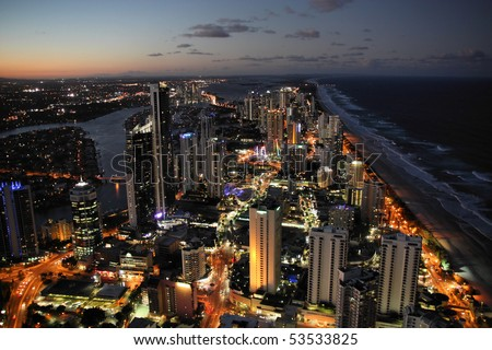 Skyscraper city - Surfers Paradise city in Gold Coast region of Queensland, Australia