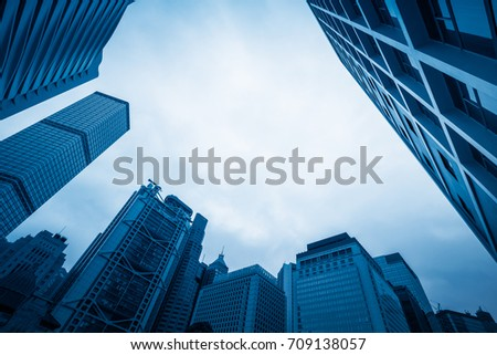 Skyscraper from a low angle view in Hong Kong,China.