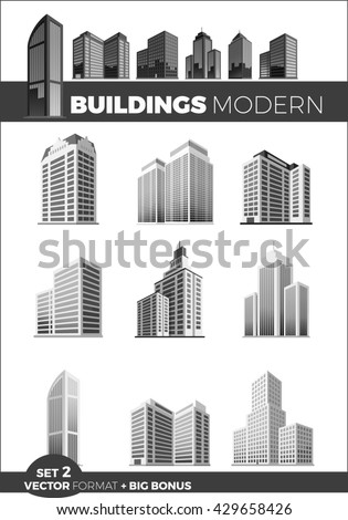 Skyscraper logo building icon set. Black building and isolated skyscraper, tower and office city architecture, house business building logo, apartment office  illustration