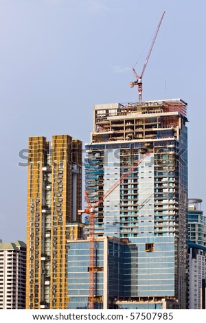 Skyscraper  Under Construction in Bangkok Thailand