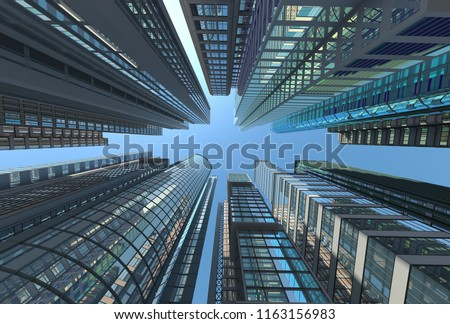 Skyscrapers against the sky, 3d illustration vertically upwards #1163156983