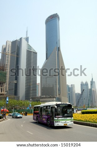 Skyscrapers and street traffic, Pudong district, Shanghai, China