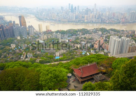 Skyscrapers and Yangtze River. Chongqing , China - stock photo