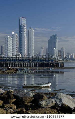 Skyscrapers at Cinta costera from old Quarter, Panama city,Panama,Central America