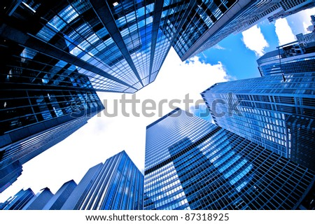 skyscrapers bask in sunlight - stock photo