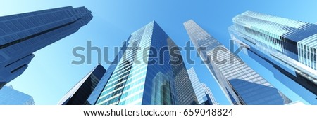 Skyscrapers, city landscape Modern city with skyscrapers and a beautiful view 3D rendering