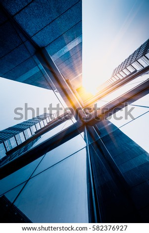 Skyscrapers from a low angle view in modern city of China. #582376927