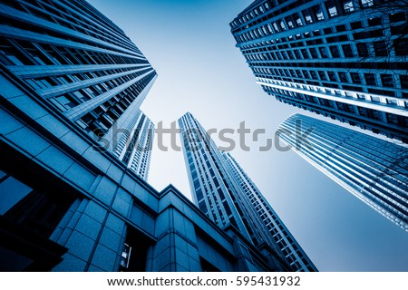 Skyscrapers from a low angle view in modern city of China. #595431932