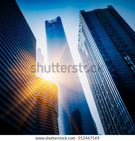 Skyscrapers from a low angle view in Shanghai,China. stock photo