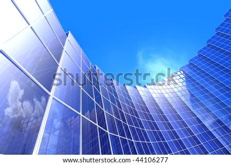 Skyscrapers. Hi-res digitally generated image.