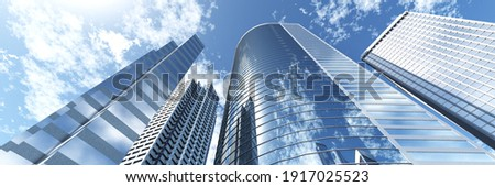 Skyscrapers, high-rise buildings from below against the background of the sky, cityscape, panorama of skyscrapers, 3D rendering Stock photo ©