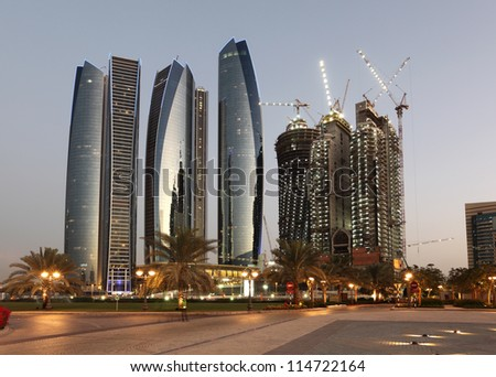 Skyscrapers in Abu Dhabi at dusk United Arab Emirates
