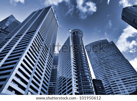 Skyscrapers in blue tone