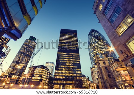 Skyscrapers in City of London,( Lloyds of London, Tower 42, Aviva and the Gherkin)