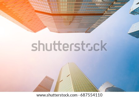 Skyscrapers in downtown at sunset #687554110