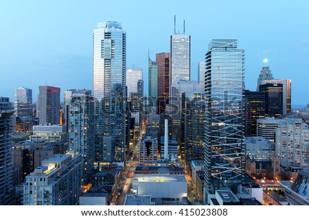 Skyscrapers in downtown Toronto financial district at dusk