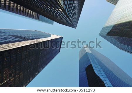 Skyscrapers in New York. Diminishing perspective