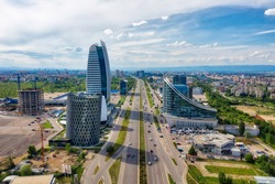 Skyscrapers in the business district of Sofia, Bulgaria, taken in May 2019