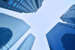 skyscrapers, looking up perspective, Seoul City, KOREA, View of modern business skyscrapers, sky view landscape of commercial building
