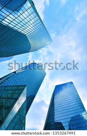 Skyscrapers, looking up perspective, Seoul City, KOREA, View of modern business skyscrapers, sky view landscape of commercial building #1353267491