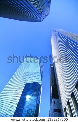 Skyscrapers, looking up perspective, Seoul City, KOREA, View of modern business skyscrapers, sky view landscape of commercial building #1353267500