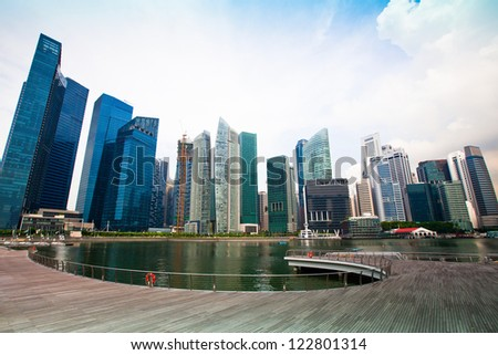 Skyscrapers of business district in Singapore City.
