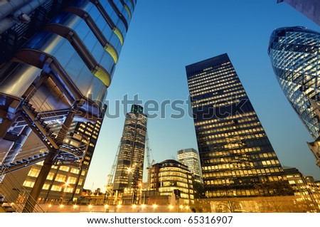Skyscrapers of City of London at night #65316907