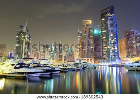 Skyscrapers of Dubai Marina at night, United Arab Emirates