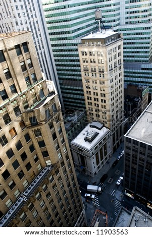 Skyscrapers of Manhattan Financial district with NYSE, New York