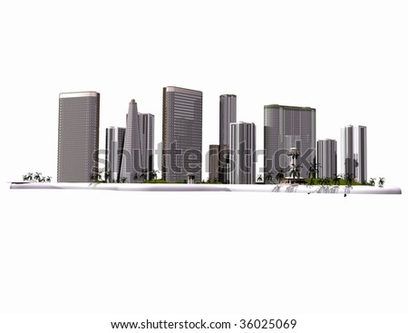 Skyscrapers of modern city on a white background