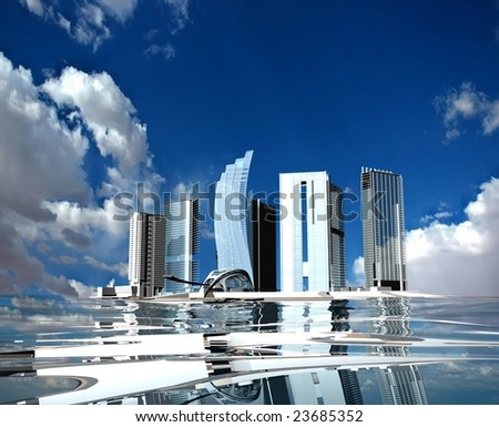 Skyscrapers of modern city on water