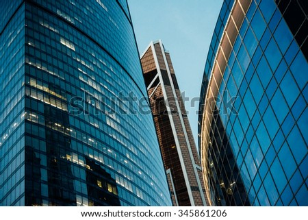 Skyscrapers of Moscow City international business centre in Moscow, Russia.