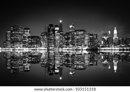 Skyscrapers of New York at night , black and white
