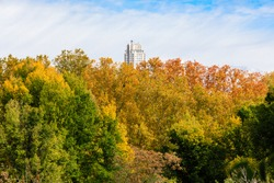 Skyscrapers of the Plaza de Espa?a hovering above the trees with autumn color in Madrid