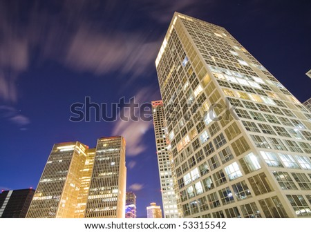Skyscrapers - office buildings in downtown Beijing at night