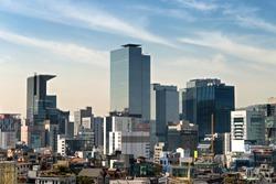 Skyscrapers skyline in  central Gangnam, Seoul , South Korea.