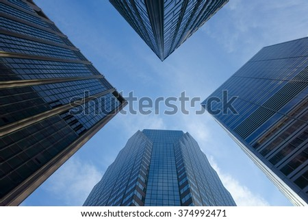 Skyscrapers towards the sky