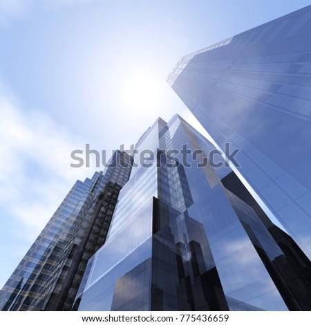 skyscrapers view from below, beautiful modern buildings against the sky, 3D rendering